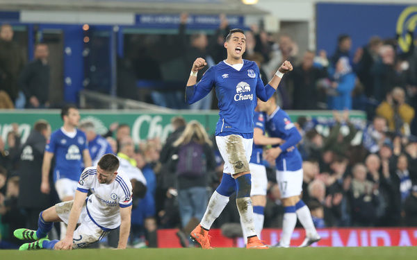 Everton's Ramiro Funes Mori celebrates victory after the Emirates FA Cup, Quarter Final match at Goodison Park, Liverpool