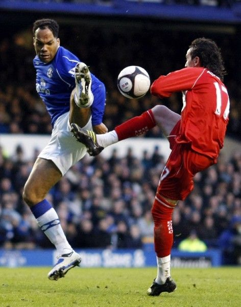 Football - Everton v Middlesbrough - FA Cup Quarter Final - Goodison Park - 08/09 - 8/3/09 Everton's Joleon Lescott in action against Middlesbrough's Tuncay Sanli (R) Mandatory Credit: Action Images / Keith Williams