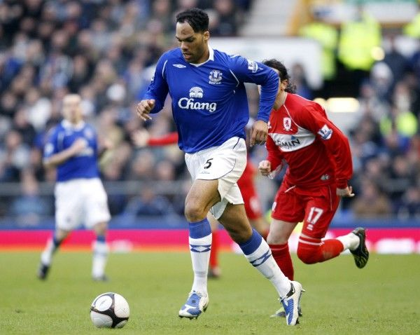 Football - Everton v Middlesbrough - FA Cup Quarter Final - Goodison Park - 08/09 - 8/3/09 Everton's Joleon Lescott in action Mandatory Credit: Action Images / Keith Williams