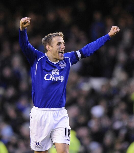 Football - Everton v Middlesbrough FA Cup Quarter Final - Goodison Park - 8/3/09 Everton's Phil Neville celebrates at full time Mandatory Credit: Action Images / Michael Regan Livepic