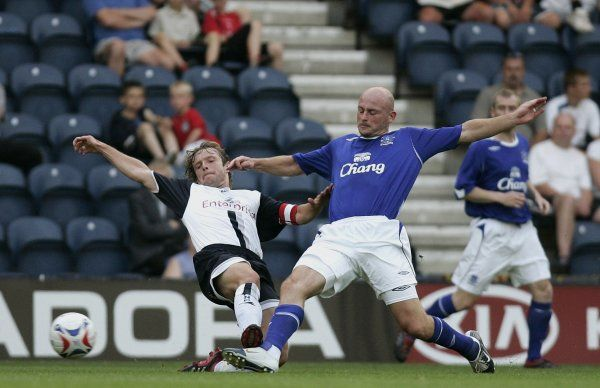 Lee Carsley puts in a challenge - Everton Mandatory Credit: Action Images / Lee Smith
