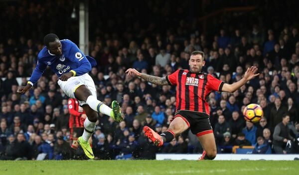 Everton's Romelu Lukaku scores his sides 5th and his 4th goal during the Premier League match at Goodison Park, Liverpool
