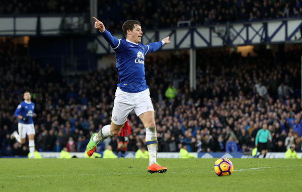 Everton's Ross Barkley celebrates going round the keeper before going on to score his sides 6th goal during the Premier League match at Goodison Park, Liverpool