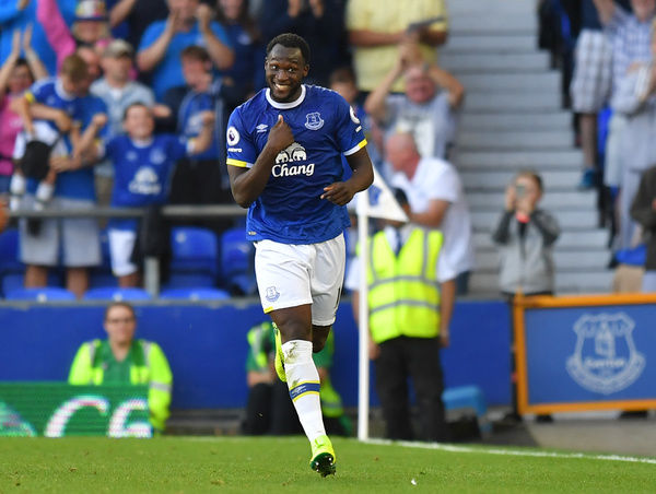 Everton's Romelu Lukaku celebrates scoring his side's third goal of the game during the Premier League match at Goodison Park, Liverpool
