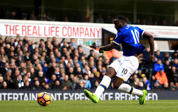Everton's Romelu Lukaku scores his side's first goal of the game