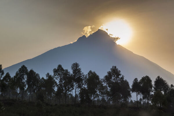 Sunrise behind Mount Mikeno, Virunga National Park, Democratic Republic of the Congo, August 2010