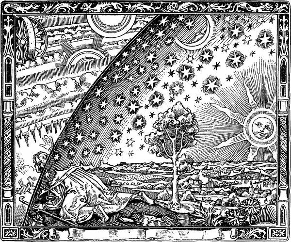 The edge of the firmament (Flammarion engraving) From L'atmosphere. Meteorologie populaire by Camill Artist: Anonymous