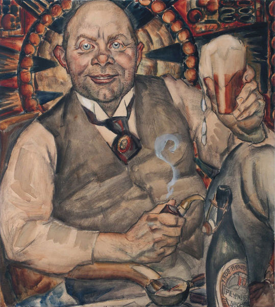 Piet Boendermaker with beer glass, 1917