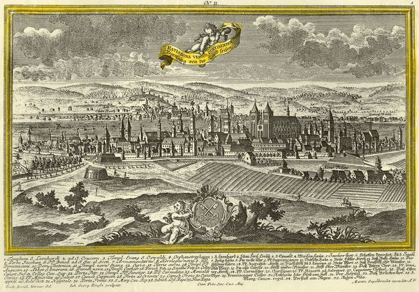 "Regensburg, c1740. The city of Regensburg in Germany (Ratisbona in Latin), with a coat of arms in the foreground, and churches, castles, and principal landmarks indicated. From ""Europaische Stadteansichten"" by Martin Engelbrecht"