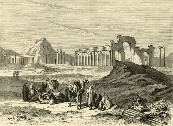 "'Ruins of Palmyra', 1890. From ""Cassell's Illustrated Universal History Vol. II - Rome"", by Edmund Ollier. [Cassell and Company, Limited, London, Paris and Melbourne, 1890]"