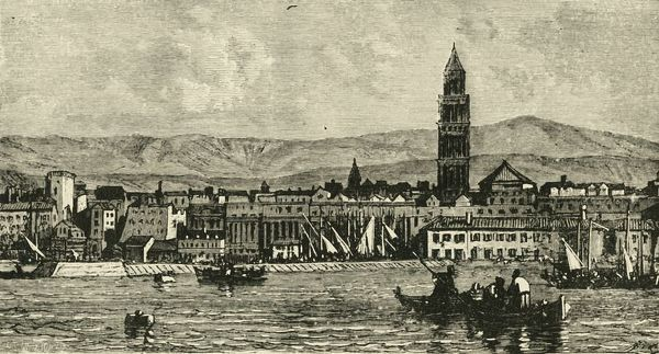 'Spalatro, from the Harbour', 1890. Campainle of the Cathedral of Saint Domnius in Split on the Adriatic Sea, second-largest city of Croatia, a prominent settlement c650 as ancient capital of the Roman province of Dalmatia, was a Byzantine city during the Middle Ages