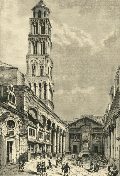 'View in Spalatro, Showing the Campanile and the Peristyle of the Palace of Diocletian', 1890. Cathedral of Saint Domnius built c305 as the Mausoleum of Diocletian with Romanesque Bell Tower added c1100 AD and Diocletian's Palace c4th century in old town Split