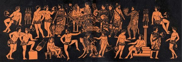 Ancient Greek theatre - illustration showing the core group of Dionysus and Ariadne in a satirical drama