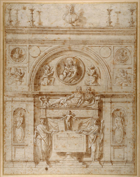 5052164 Design for a wall tomb in the Etruscan manner (pen & ink on paper) by Penni, Giovanni Francesco (il Fattore) (c.1488-1528); 54.9x42 cm; Collection of the Duke of Devonshire, Chatsworth House, UK; Italian, out of copyright