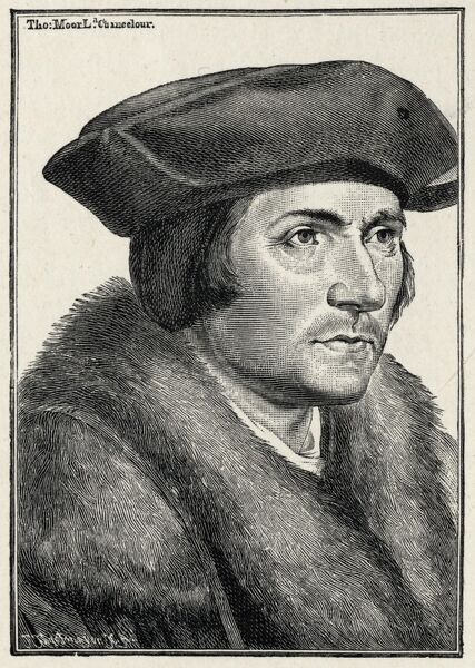 Sir Thomas More - portrait - politician - author c 1478-1535 - from Bartolossi engraving - after Holbein drawing - Lord Chancellor under Henry VIII