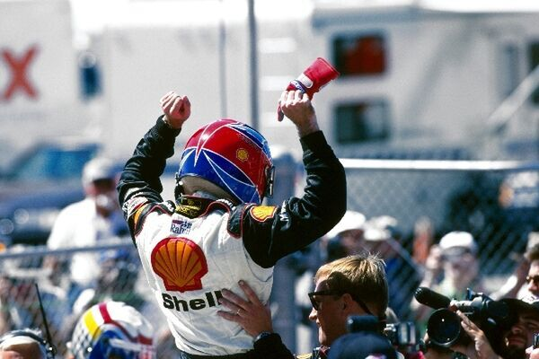 Bryan Herta (USA) Reynard 981 celebrates his win. Fedex Champ Car Championship, Laguna Seca, USA. 13 September 1998