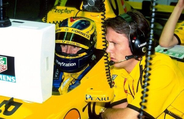 (L to R): Heinz-Harald Frentzen (GER) Jordan and Sam Michael (AUS) Jordan Race Engineer. U.S.A. Grand Prix, Indianapolis, USA, 24 September 2000