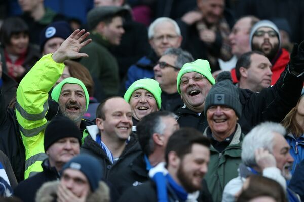Albion fans during the FA Cup fourth round match between Brighton and Hove Albion and Arsenal at the American Express Community Stadium, Brighton and Hove, England on 25 January 2015