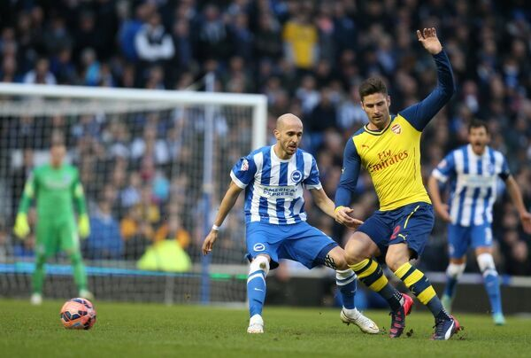 Bruno Saltor, Brighton defender during the FA Cup fourth round match between Brighton and Hove Albion and Arsenal at the American Express Community Stadium, Brighton and Hove, England on 25 January 2015