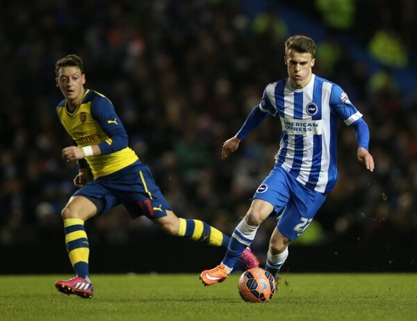 Solly March, Brighton midfielder during the FA Cup fourth round match between Brighton and Hove Albion and Arsenal at the American Express Community Stadium, Brighton and Hove, England on 25 January 2015