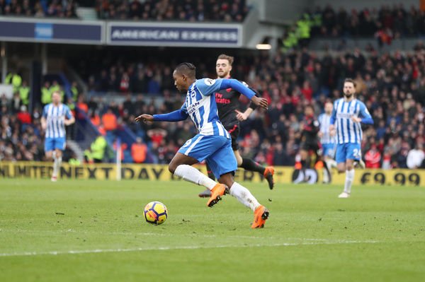 Match action during the Premier League match between Brighton and Hove Albion and Arsenal at the American Express Community Stadium, Brighton on the 4th March 2018
