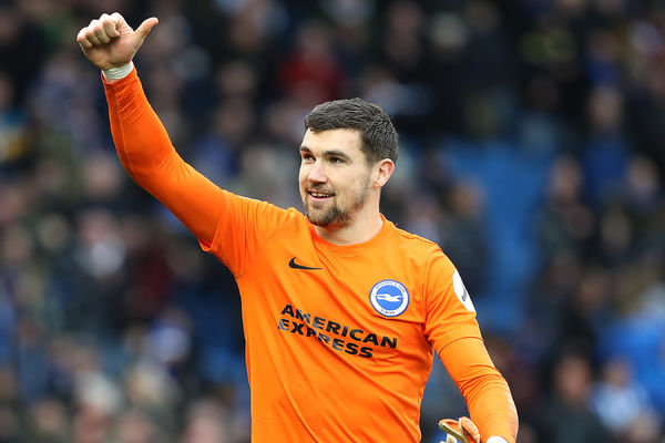 Brighton and Hove Albion goalkeeper Mathew Ryan (1) celebrates at the final whistle. Match action during the Premier League match between Brighton and Hove Albion and Arsenal at the American Express Community Stadium, Brighton on the 4th March 2018