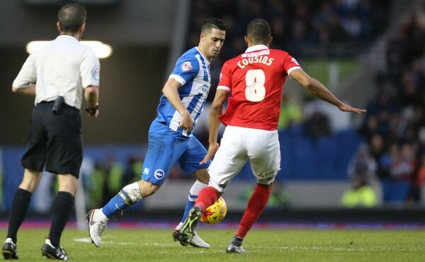 Match action during the Sky Bet Championship match between Brighton and Hove Albion and Charlton Athletic at the American Express Community Stadium, Lewes, Falmer, England on 5th December 2015