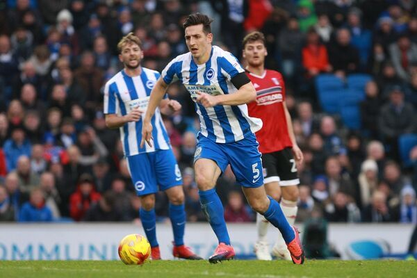Brighton & Hove Albion central defender Lewis Dunk during the EFL Sky Bet Championship game between Brighton and Hove Albion and Fulham at the American Express Community Stadium, Falmer on the 26th November 2016