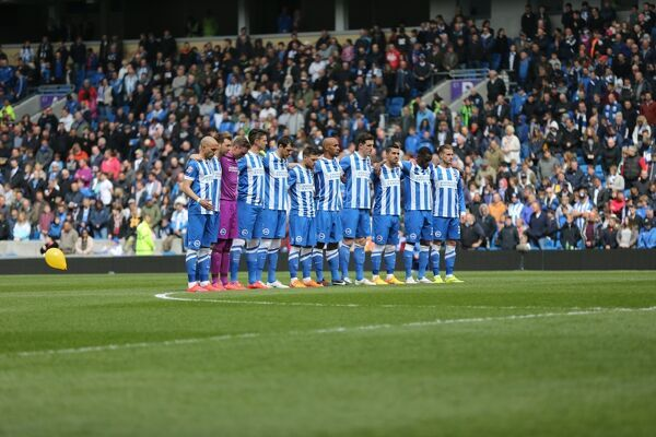 One minutes silence for the 56 who died in the Bradford fire during the Sky Bet Championship match between Brighton and Hove Albion and Bournemouth at the American Express Community Stadium, Brighton and Hove, England on 25 April 2015