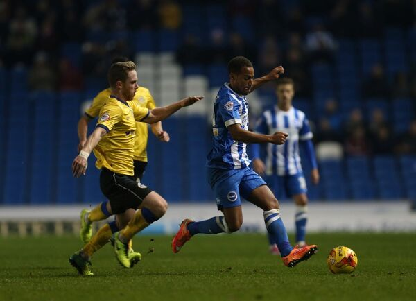 Elliott Bennett during the Sky Bet Championship match between Brighton and Hove Albion and Wigan Athletic at the American Express Community Stadium, Brighton and Hove, England on 4 November 2014