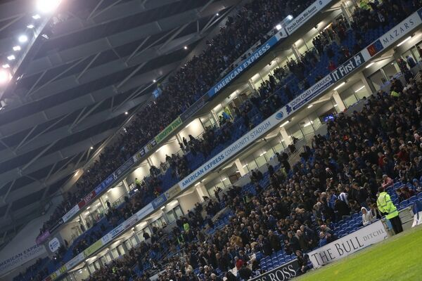 Albion fans The Bull during the Sky Bet Championship match between Brighton and Hove Albion and Wigan Athletic at the American Express Community Stadium, Brighton and Hove, England on 4 November 2014