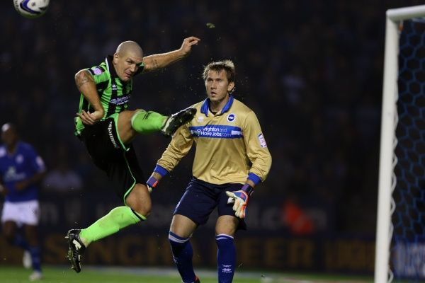 Adam El-Abd clears during Leicester v Brighton & Hove Albion, Npower Championship, Kingpower Stadium, Tes 23rd October 2012