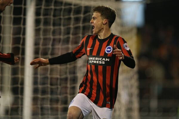 Solly March scores a goal and celebrates during the Sky Bet Championship match between Fulham and Brighton and Hove Albion at Craven Cottage, fulham, England on 29th December 2014