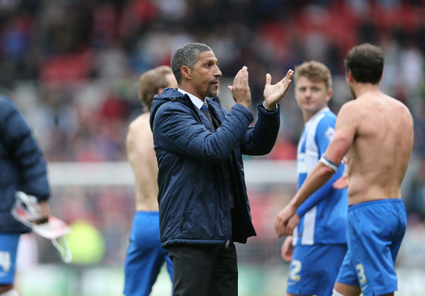 Brighton manager Chris Hughton applauds the fans during the Sky Bet Championship match between Middlesbrough and Brighton and Hove Albion at the Riverside Stadium, Derby, England on 2nd May 2015