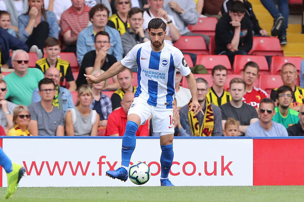 Brighton and Hove Albion midfielder Alireza Jahanbakhsh Jirandeh (16). Match action during the Premier League match between Watford and Brighton and Hove Albion at Vicarage Road, Watford on the 11th August 2018