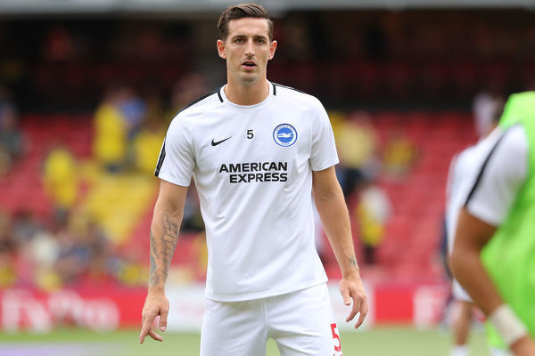 Brighton and Hove Albion defender Lewis Dunk (5). Match action during the Premier League match between Watford and Brighton and Hove Albion at Vicarage Road, Watford on the 11th August 2018