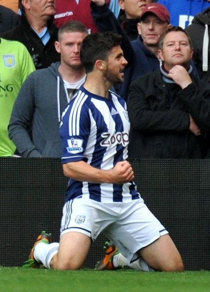 West Bromwich Albion's Shane Long celebrates scoring their opening goal