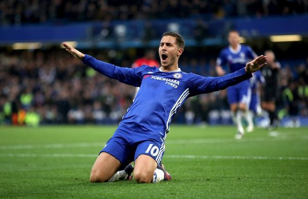 Chelsea's Eden Hazard celebrate scoring his side's third goal of the game during the Premier League match at Stamford Bridge, London