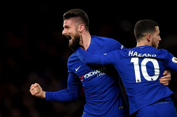 LONDON, ENGLAND - FEBRUARY 12: Olivier Giroud of Chelsea celebrates his sides first goal during the Premier League match between Chelsea and West Bromwich Albion at Stamford Bridge on February 12, 2018 in London, England