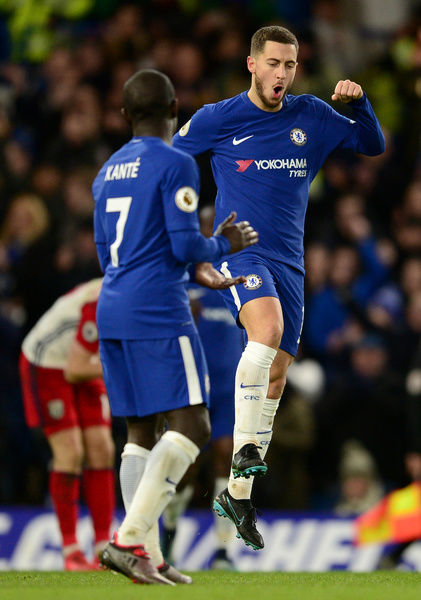 LONDON, ENGLAND - FEBRUARY 12: Eden Hazard of Chelsea celebrates scoring the 3rd Chelsea goal with N'Golo Kante of Chelsea during the Premier League match between Chelsea and West Bromwich Albion at Stamford Bridge on February 12, 2018 in London, England