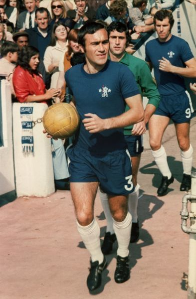 SOCCER. RON HARRIS LEADS OUT CHELSEA