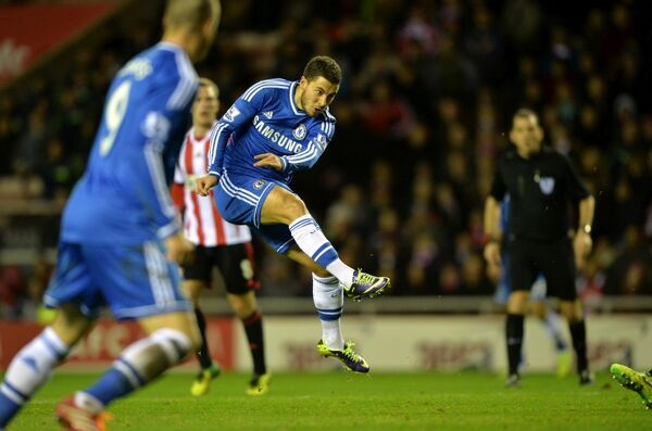 Chelsea's Eden Hazard scores his side's third goal of the game