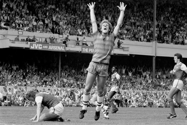 Chelsea's Kerry Dixon celebrates scoring his team's goal in their 1-1 draw