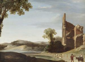 Breenbergh - Landscape with Classical Ruins & Figures N070603