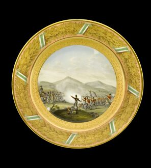 Dessert plate depicting the Battle of Talavera N081122