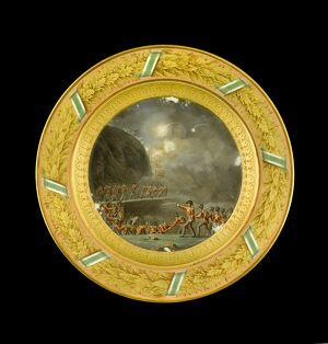 Dessert plate depicting the Storming of Ciudad Rodrigo N081120