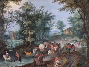 Gysels - Landscape with Figures Crossing a Brook N070537