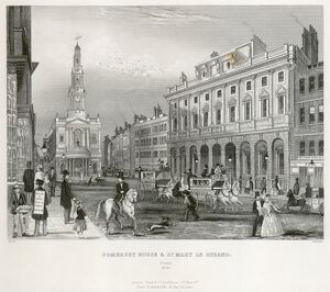Mid-19th century engraving of the Strand, London N110043