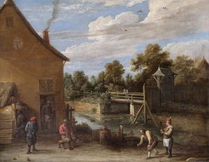 Teniers - Peasants playing Bowls.. N070543