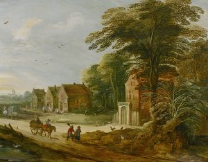 Travellers Passing Through a Village N020004
